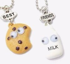 Chocolate Chips Cookie Milk Best Friend Pendants Necklaces Charm BFF Friendship