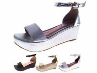 Womens Strappy Low Wedge Sandals Snake Print Flatforms Summer Shoes Size UK 3-8
