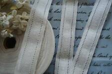 "1y VTG GERMAN 1 1/8"" WHITE FLORAL JACQUARD EYELET COTTON LACE RIBBON TRIM DRESS"