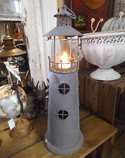 LATERNE OLD LIGHTHOUSE LEUCHTTURM 46cm ANTIK STIL MARITIM METALL WINDLICHT NEU