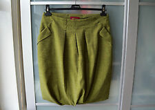 Skunkfunk green tweed wool bubble skirt ~ futuristic style ~ L