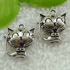 Free Ship 50 pcs tibet silver cat charms 23x21mm #1687