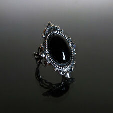 Victorian gothic Black Onyx ring filigree silver steampunk wedding SINISTRA