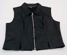 Womens Black Leather Vest Front Zip Genuine Leather Size L