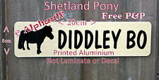 Shetland Pony Stable Door Sign Personalised Brushed Gold Aluminium not Laminate