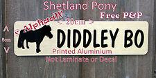 Shetland Pony Stable Door Sign Personalised Brushed Gold Aluminium not Laminate