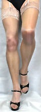 Fabulous Natural/Nude Medium 15 Denier Luxury Lace Top Satin Sheen  Stockings