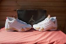Nike Woman's Air Jordan 14 Retro White Red Linen Green Size 8 (Mens 6.5) (997A)