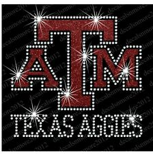 Texas Aggies A & M - Bling - Iron-on Glitter Vinyl & Rhinestone Transfer Decal