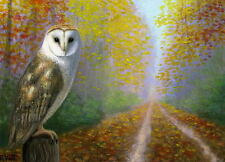 Barn owl misty autumn fall road trees landscape limited edition aceo print art