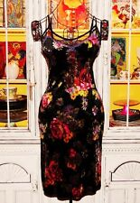 Betsey Johnson VINTAGE Dress CRUSHED VELVET Black ROSE DAISY Mesh FLORAL S 2 4 6