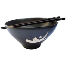 Handmade Chinese/ Japanese Ceramic Stoneware Noodle Bowl with Chopsticks - Black