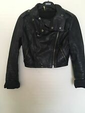 Topshop Genuine  Black Cropped Leather Jacket Size 8