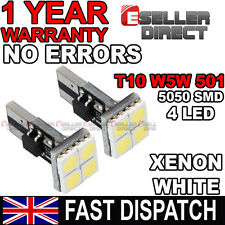 2X Error Free Canbus T10 501 W5W 5050 LED 4 SMD White Car Side Number Light Bulb