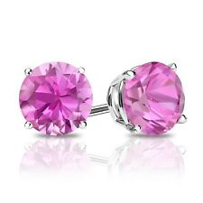1 Ct Round Pink Earrings Studs Real 14K White Gold Brilliant Screw Back Basket