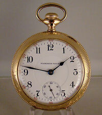 "ILLINOIS ""WASHINGTON WATCH CO LAFAYETTE"" 24j 14k GF OF 18s RAILROAD POCKET WATCH"