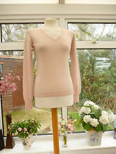 Fabuleux * UNIQLO * rose 100% pure laine vierge mailles fines col V Pull SZ S