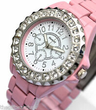 Ladies Pink Watch Henley Real Big Sparkly Crystals Ceramic Effect Metal Links