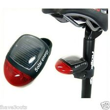 Solar Powered Rear Tail Light Red LED Lamp For Bikes Bicycle Cycling Power Saver