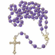 Purple plastic round rosary beads with silver spotted detail 53cm long glitter