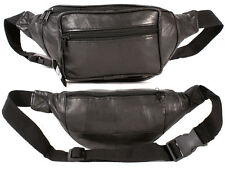 UNISEX BLACK SOFT LEATHER MONEY BUM BAG TRAVEL WAIST BELT LIGHT WEIGHT NEW