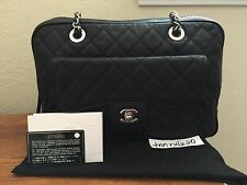 Authentic Black Caviar CHANEL Silver CC Classic Shoulder Bag Flap Handbag