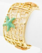 Coastal Gold Turquoise Coral STARFISH Cuff Bangle Sea Life Tropical Bracelet NWT