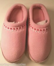 LL Bean Comfy House Slipper Mule Slide Shoes Pink Fleece Leather Youth Girls 1-2