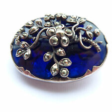 STUNNING ANTIQUE GEORGIAN FOILED BRISTOL BLUE GLASS SILVER & MARCASITE BROOCH
