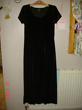 Laura Ashley classic long green dress size small petite has a velour feel to it