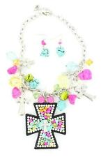 M&F Western Womens Jewelry Necklace Earrings Cross Multi-Color 29151
