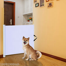 "PawHut Retractable Pet Safety Gate 45.3"" Dog Hide Away Door Metal Play Doorways"