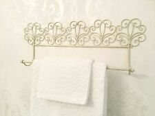 Shabby Chic Ivory Towel Rail French Vintage Industrial Metal Bathroom Kitchen