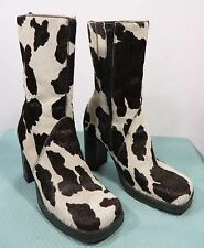 "Vtg EC EuroClub ""PONY"" Cow Print Calf Hair Women's Leather Platform Boots Sz 8B"