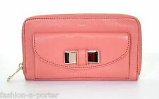 CHLOÉ BOW DETAIL LOGO PINK ZIP AROUND CONTINENTAL LEATHER WALLET PURSE BNWT