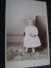 Cdv cabinet old photograph girl stuffed toy by Chapman at Dawlish c1890s