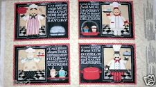 CHEF FABRIC PANEL MAKE 4 PLACEMATS IN THE KITCHEN WILMINGTON prints NEW BTP