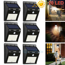 6 X20LED Solar Power Sensor Wall Light Security Motion Weatherproof Outdoor Lamp