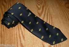 "Rare VTG Mens CHIPP Navy Neck Tie Embroidered Gold Fish Bones & Cat 56"" x 3.25"""