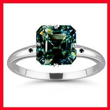 3.44 ct vs1/GREEN BLUE EMERALD MOISSANITE & NATURAL BLACK DIAMOND SILVER RING