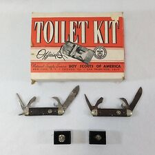 Vtg Boy Scout Cub Scout Lot Of 5 Toilet Kit Knives Sterling Silver Rings BSA