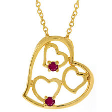 "Red Cubic Zirconia CZ Gold Plated Multi Heart Shape Pendant with 18"" Chain"