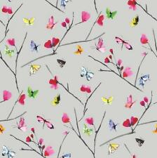 New Holden Decor Floral Mazarine Butterfly - Silver & Multi Wallpaper - 97770