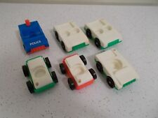 LOT OF 6 VINTAGE FISHER PRICE LITTLE PEOPLE CARS POLICE CAR