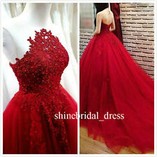 Dark Red Prom Quinceanera Gowns Appliques Lace Princess A Line Wedding Dresses
