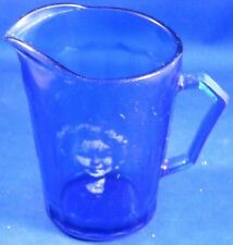 Cobalt Blue Shirley Temple Cream Pitcher with Fading Picture