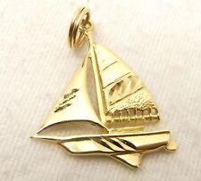 Vtg 14K Gold Sailboat Pendant Charm 1.8g 3D Schooner Zodiac Ship Nautical Boat