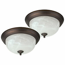 "Oil Rubbed Bronze Flush Mount Ceiling Light Fixture 13"" Alabaster Glass - 2 Pack"
