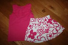 NWT Gymboree Hop & Roll Size 7 Knit Set Pink Ruffle Tank Top Dark  Flower Skort
