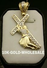 NEW 10K SOLID YELLOW GOLD JESUS CARRYING CROSS  CHARM PENDANT MENS & LADIES 3122